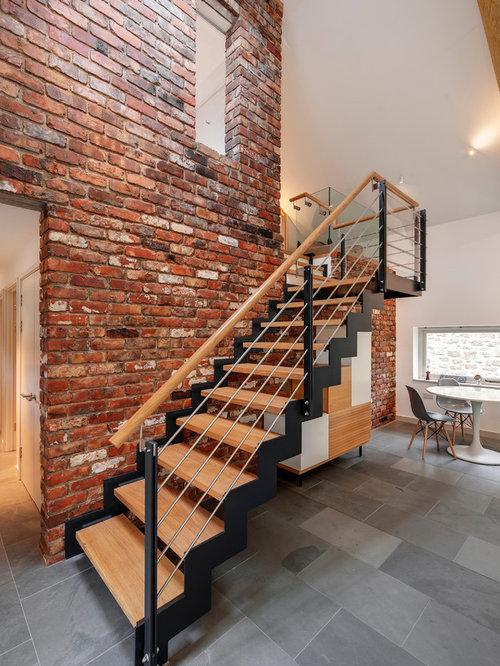 Foto e idee per scale scale curve contemporanee for Casas modernas llc west 12th street dallas tx
