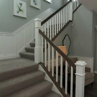 ミネアポリスの中サイズのカーペット敷きのトランジショナルスタイルのおしゃれな折り返し階段 (カーペット張りの蹴込み板) の写真