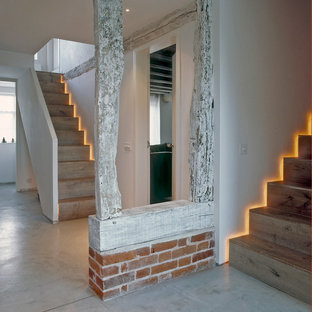 Medium sized contemporary wood straight staircase in London with wood risers.