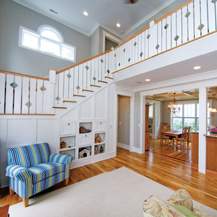 Inspiration for a beach style staircase remodel in Charlotte