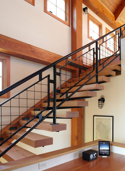 Farmhouse Staircase by Northworks Architects + Planners