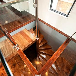 Foto de escalera de caracol, actual, pequeña, con escalones de madera y contrahuellas de madera