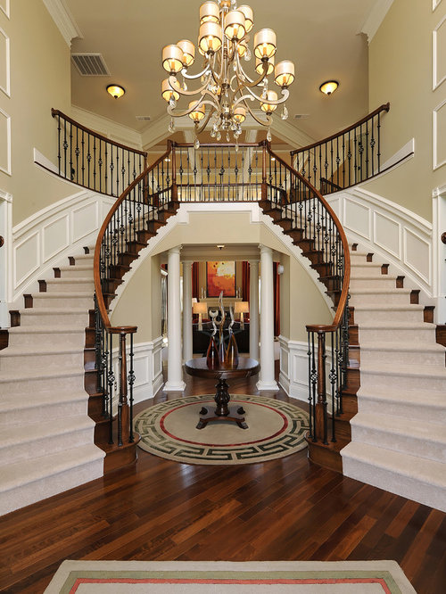 Double staircase houzz for Double curved staircase