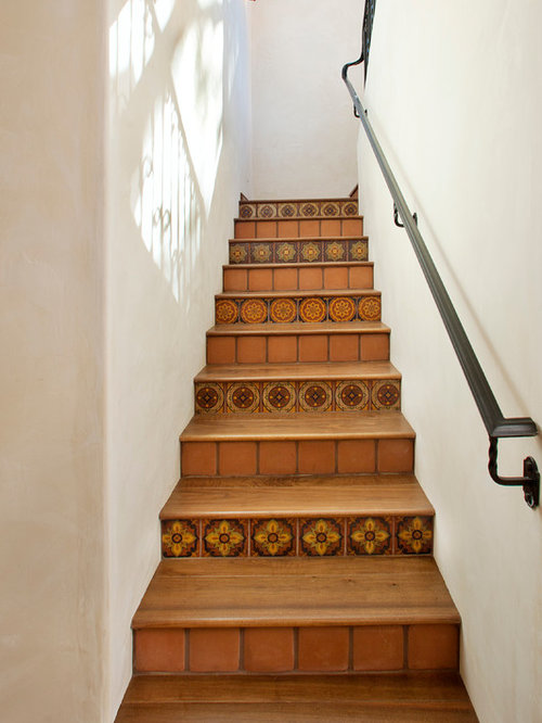 Example of a tuscan wooden metal railing staircase design in Santa Barbara - Ceramic Wood Tile Houzz