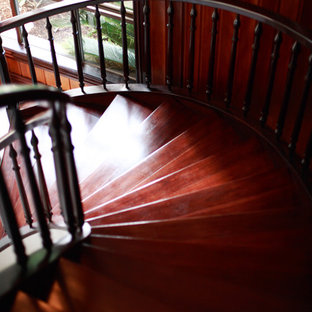 ブリスベンの広いトラディショナルスタイルのおしゃれならせん階段 (金属の手すり) の写真