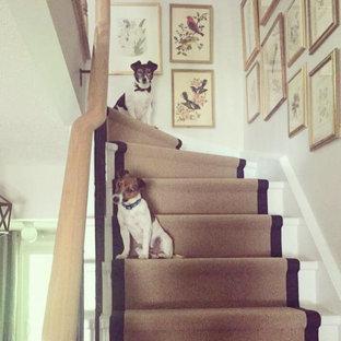 Imagen de escalera en L, ecléctica, de tamaño medio, con escalones de madera pintada, contrahuellas de madera pintada y barandilla de metal