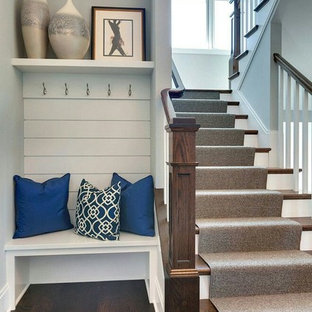 Example Of A Mid Sized Classic Wooden U Shaped Wood Railing Staircase Design  In