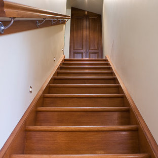 Inspiration for a small contemporary wood straight wood railing staircase in Adelaide with wood risers.