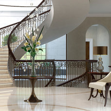 Transitional Staircase by Julie Kent Interiors