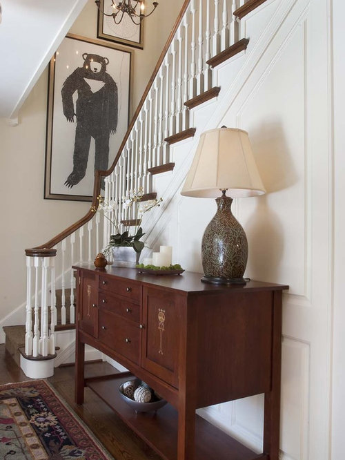 Foyer table lamp houzz hallway traditional dark wood floor hallway idea in philadelphia with white walls mozeypictures Image collections