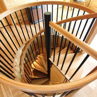 Идея дизайна: маленькая винтовая лестница в классическом стиле с деревянными ступенями и металлическими подступенками