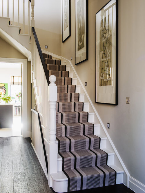 Traditional Painted L Shaped Staircase Idea In London