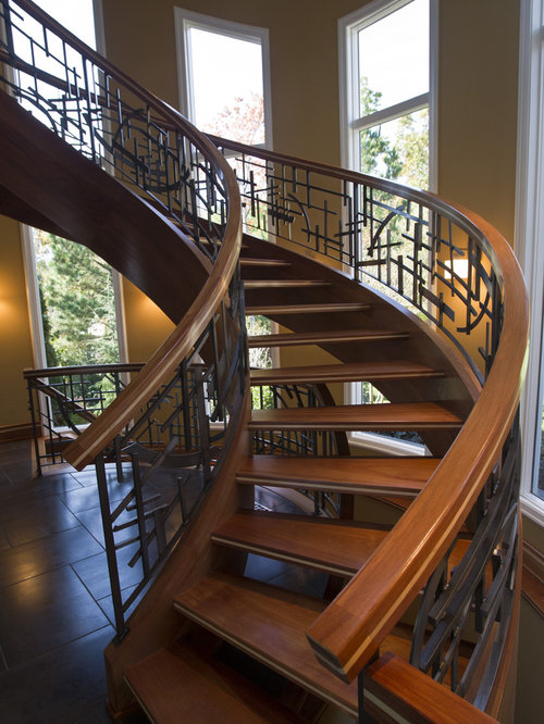 French Country Wrought Iron Railing Staircase Home Design