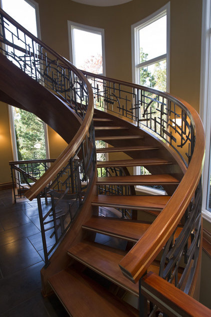 Traditional Staircase by Oak Hill Iron
