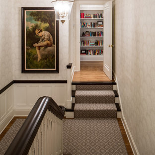 Inspiration for a timeless wooden staircase remodel in Minneapolis