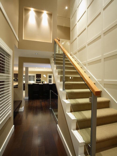 Elegant Straight Glass Railing Staircase Photo In Vancouver