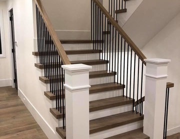 Transitional Metal & Wood Staircase