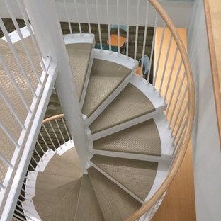Ejemplo de escalera de caracol, tradicional renovada, de tamaño medio, con escalones de metal, contrahuellas de metal y barandilla de madera