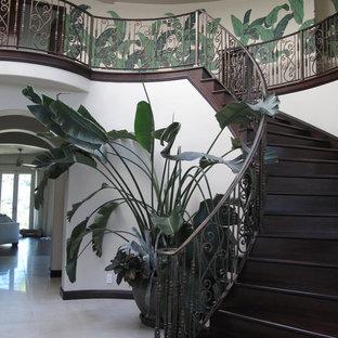 Ispirazione per una grande scala curva tropicale con pedata in legno e alzata in legno