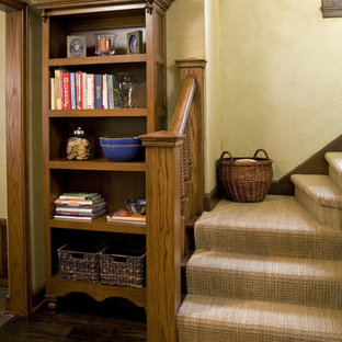 Inspiration for a timeless wooden staircase remodel in Minneapolis with wooden risers