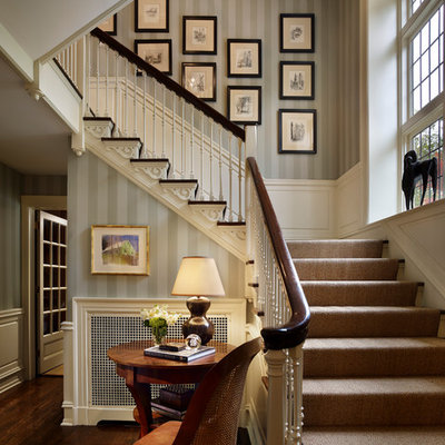 Inspiration for a timeless wooden l-shaped staircase remodel in Philadelphia