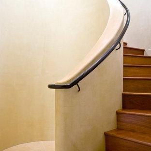 サンタバーバラの大きい木のトロピカルスタイルのおしゃれならせん階段 (木の蹴込み板) の写真
