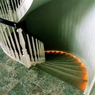 デトロイトの大きいカーペット敷きのトランジショナルスタイルのおしゃれなサーキュラー階段 (カーペット張りの蹴込み板) の写真