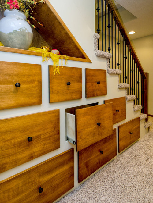 Drawers under stairs houzz for Under stairs drawers plans