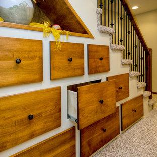 他の地域のカーペット敷きのトラディショナルスタイルのおしゃれな階段 (カーペット張りの蹴込み板) の写真