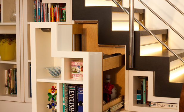ingenious under stair shelving. Contemporary Staircase by Matthew McCrossan  Bespoke furniture Storage Ingenious Bookshelf Designs in Surprising Spots
