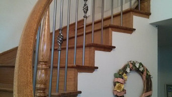 Union City Curved Handrails & Wood Treads w/ Round Iron Balusters