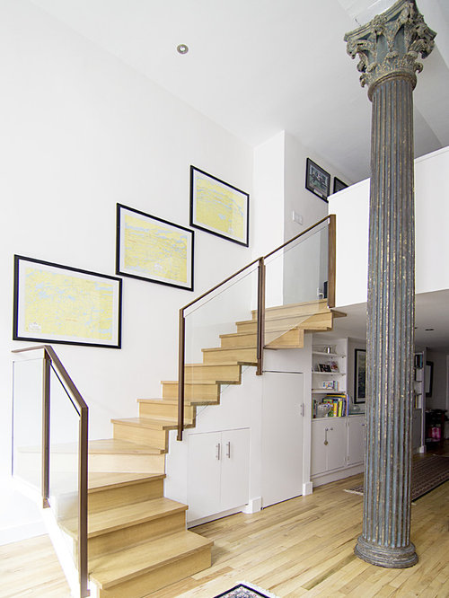 Mid Sized Minimalist Wooden L Shaped Wood Railing Staircase Photo In New  York