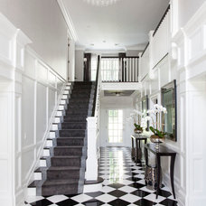 Transitional Staircase by Susan Glick Interiors