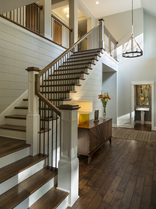 Inspiration For A Transitional Wooden L Shaped Staircase Remodel In  Minneapolis