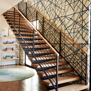 Staircase - mid-sized contemporary wooden straight open and metal railing staircase idea in Los Angeles