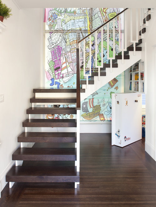 Secret storage houzz - Staircases with integrated bookshelves ...