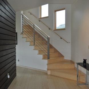 デンバーの中サイズの木のコンテンポラリースタイルのおしゃれなかね折れ階段 (金属の手すり、木の蹴込み板) の写真