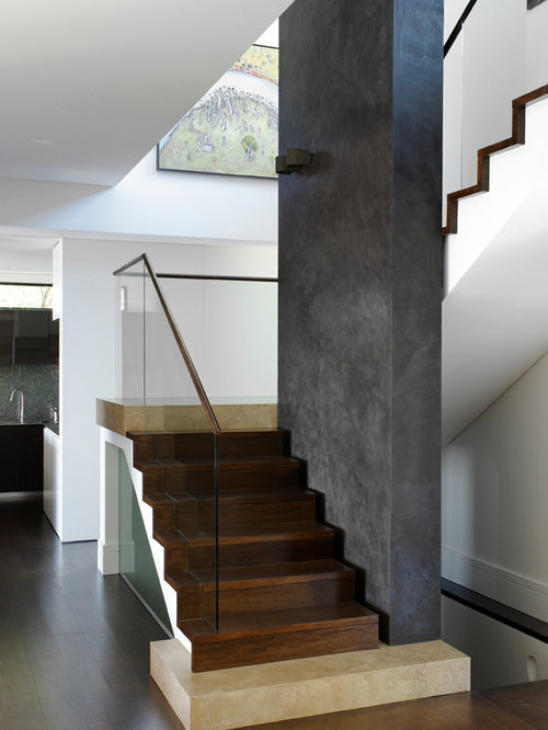 Staircase   Mid Sized Contemporary Wooden L Shaped Staircase Idea In Sydney