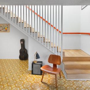 Retro Holztreppe in L-Form mit Holz-Setzstufen in Los Angeles