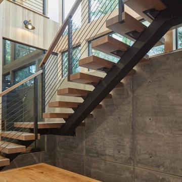 Viewrail Custom FLIGHT 90° Floating Monostringer Stair System
