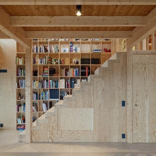 Inspiration för mellanstora moderna raka trappor i trä, med sättsteg i trä