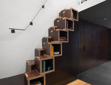 Village Loft Built In Stair Bookcase