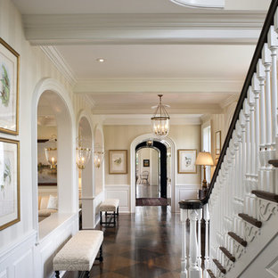 Example of a large classic wooden straight staircase design in Philadelphia