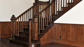Walnut Custom Stair and Wainscott Walls