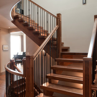 Staircase - craftsman wooden l-shaped open and mixed material railing staircase idea in Edmonton