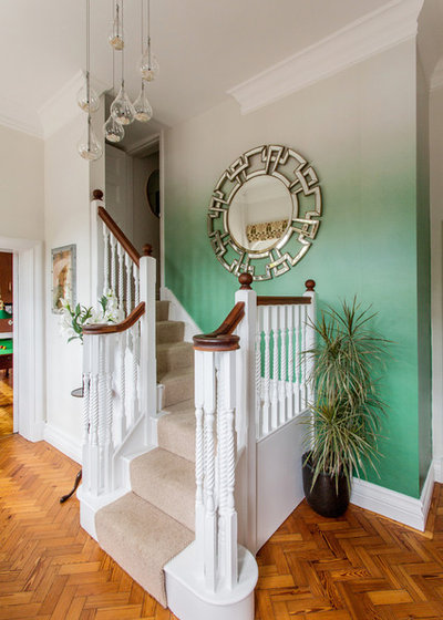 Transitional Staircase by Niki Schafer Interior Design