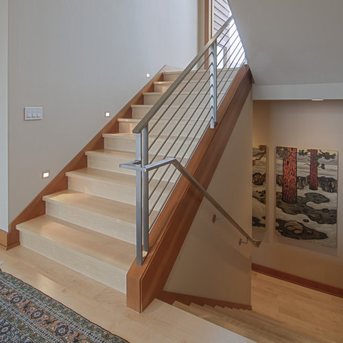 Inspiration For A Contemporary Wooden U Shaped Metal Railing Staircase  Remodel In Portland