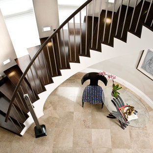 Charmant Staircase   Large Contemporary Wooden Spiral Mixed Material Railing  Staircase Idea In New York