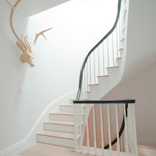 Staircase - large transitional wooden curved wood railing staircase idea in New York with painted risers