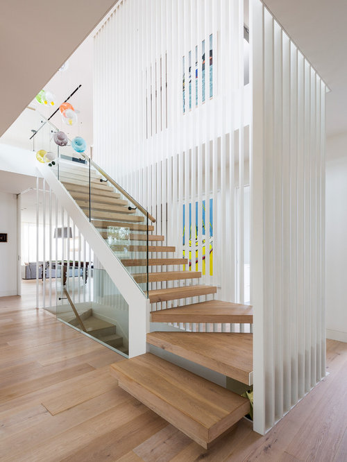 design ideas for a contemporary wood l shaped staircase in sydney - Staircase Design Ideas